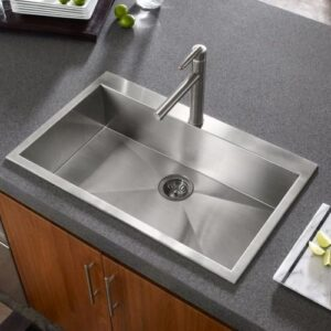 Stainless Steel Sink Chrome brushed nickel faucet