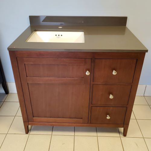 Brown Ronbow Walnut Vanity olive counter white sink