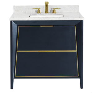 Blue Vanity Marble Top Gold Faucet and Trim